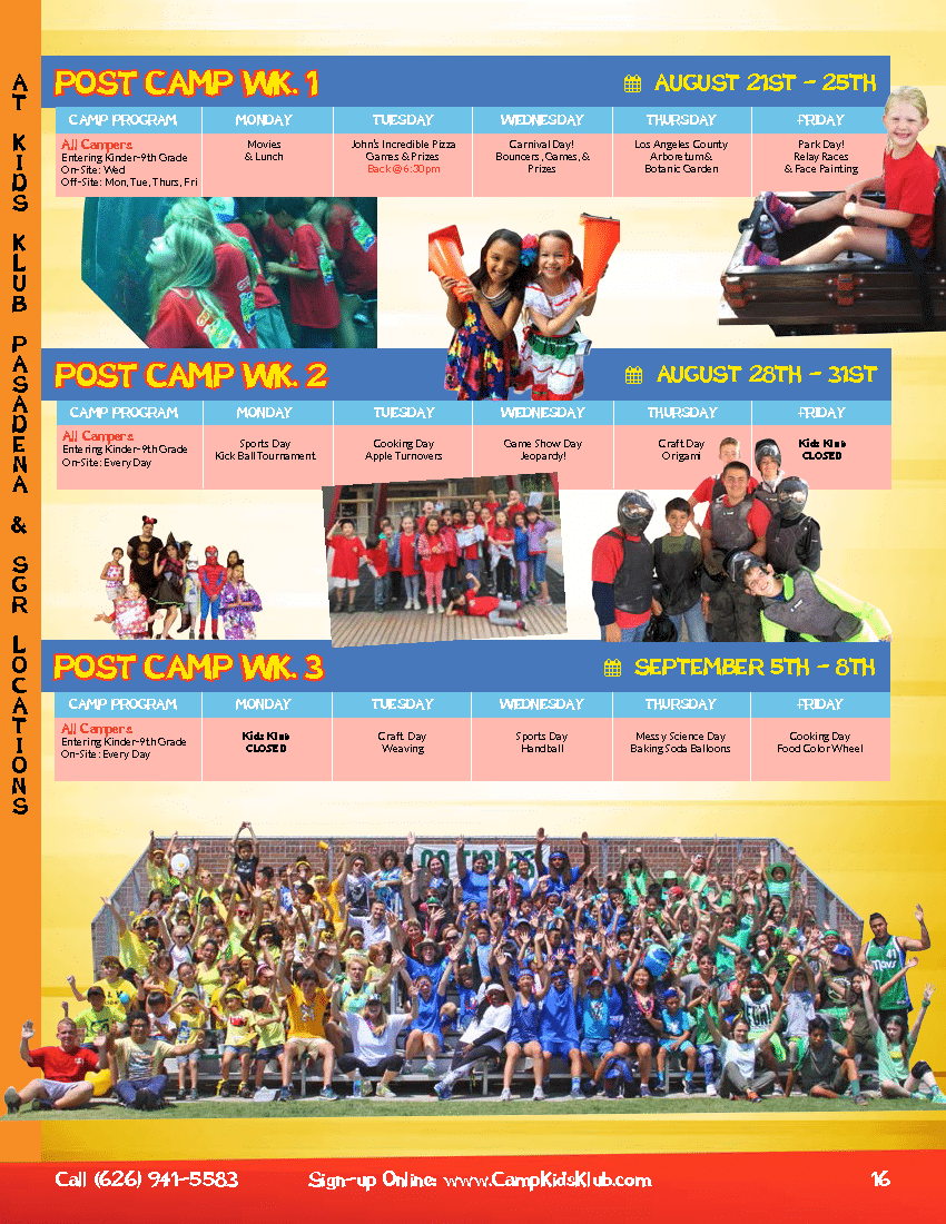 Kids Klub Summer Camp - Post Camp Week 1 & 2 & 3